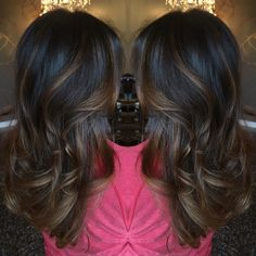 Dark brown balayage on long hair. Beautiful chocolate brown color done by @ashleymichelleartistry
