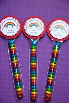 Rainbow Birthday Party Giveaways, Treats and Party Favors Don't forget to prepare goodies for your young guests. They deserve any of these samples, for celebrating with your child's special day!