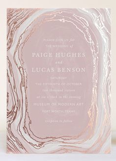 Dusty pink agate slice invitation design