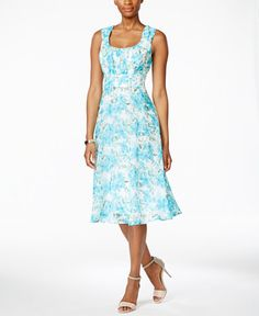 Connected Sleeveless Floral-Print Empire-Waist Dress