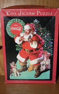 Santa tries to quiet a little Mini Schnauzer puppy in this vintage Coca Cola jigsaw puzzle