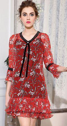 Casual V-Neck Floral Print Mini Dress