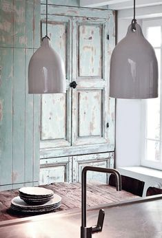 Heavily distressed pale green kitchen armoire - looks great with those grey pendant lamps - Home Decorating Magazines Kitchen Armoire, Milk Magazine, Magazine Editor, Ceramic Light, Ceramic Pendant, Raku Pottery, Green Kitchen, Decoration, Sweet Home