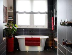 Perfect Moderne Badeinrichtung Kreative Rote Deko Awesome Design