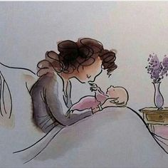 (notitle) - رسومات _^ diet first hacks Mother Art, Mother And Child, Family Illustration, Illustration Art, Mom And Baby, Baby Love, Cute Drawings, Drawing Sketches, Pregnancy Art