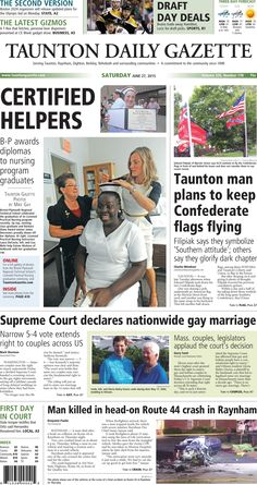 The front page of the Taunton Daily Gazette for Saturday, June 27, 2015.