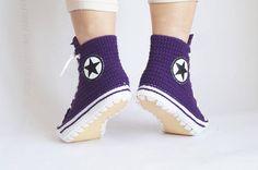 Crochet Purple Converse Slipper Crochet House Slippers For Converse Slippers, Converse Boots, Purple Converse, Crochet House, Crochet Converse, Creative Inventions, Shoe Image, Wool Wash, Slipper Boots