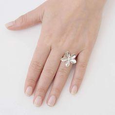 Frangipani Single Flower Ring   JewelStreet US