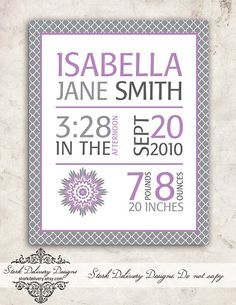 Purple Dahlia Baby GIrl Nursery Wall Art - Birth Stats -  DIY Printable on Etsy, $10.00