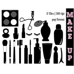 Make-Up Silhouettes Make Up Silhouette Perfume Clipart Girly... ($7) ❤ liked on Polyvore featuring beauty products, makeup, lip makeup and perfume makeup