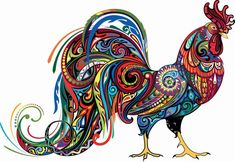 Abstract Rooster chicken farmyard country counted cross stitch pattern - abstract - This Pattern -ABSTRACT ROOSTER I Prints on 19 Pages. X Stitches Size(s): 20 Count, - Rooster Painting, Rooster Art, Rooster Images, Chicken Painting, Chicken Art, Art And Illustration, Arte Do Galo, Rooster Tattoo, Tattoo Bird