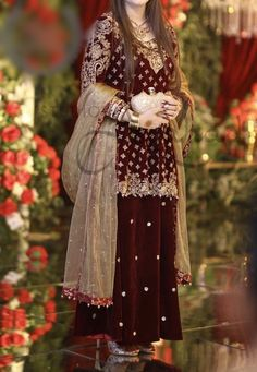 We aspire to create a platform that gives our customers a memorable shopping experience. Custom made and Worldwide shipping Available . Pakistani Party Wear Dresses, Beautiful Pakistani Dresses, Shadi Dresses, Pakistani Wedding Outfits, Wedding Dresses For Girls, Pakistani Wedding Dresses, Pakistani Dress Design, Bridal Outfits, Velvet Pakistani Dress