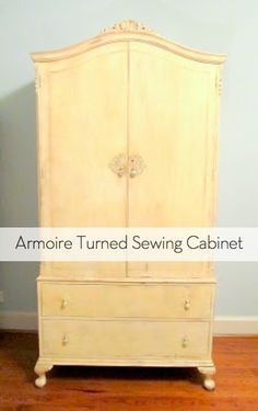 How To: Transform an Armoire into a Sewing Cabinet--I seriously need this! Craft Armoire, Craft Cabinet, Sewing Cabinet, Cabinet Ideas, Sewing Machine Cabinets, Sewing Machines, Sewing Room Organization, Craft Room Storage, Storage Ideas