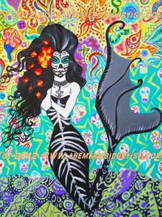 Day of the Dead Mermaid 2 5x7 matted mini print