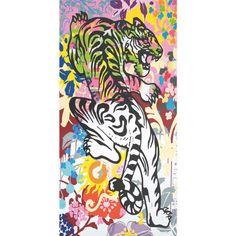 Benallen Multi-Colour Fabric Graffiti Canvas ❤ liked on Polyvore