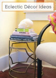 Show your personality and style through fun and eclectic accessories–Stacking books and topping them off with a unique piece is a great way to dress up a side table and create a conversation piece.