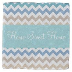 This design features a beach tones chevron stripes pattern. The TEXT can be customized with your own. Check out my store for more colors and more products with this design. Tabletop Accessories, Stone Coasters, Drink Coasters, House Warming, Beverage, Chevron, Sweet Home, Stripes, Store
