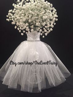 Centerpiece Wedding Dress Vase by theEventFairy on Etsy https://www.etsy.com/listing/490982785/centerpiece-wedding-dress-vase