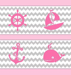 NAUTICAL NURSERY DECOR Chevron Border Pink Grey Gray Wall Art Decal Sailboat Stickers Baby Girl Sea Life Shower Zig Zag Whale Anchor Room #decampstudios