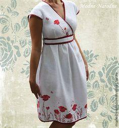 Этническая одежда ручной работы. Ярмарка Мастеров - ручная работа платье с ручной вышивкой Маковое Поле. Handmade.