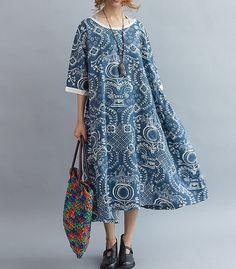 Blue/ fuchsia Loose Oversize Dress/ Summer Linen large size Dresses