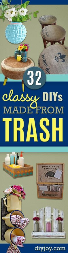 DIY Projects Made From Trash - Cool Crafts and DIY Made from Upcycled Items You Don't Want To Throw Away. Home Decor, Gifts and Fun Ideas for Kids, Adults and Teens http://diyjoy.com/diy-projects-made-from-trash