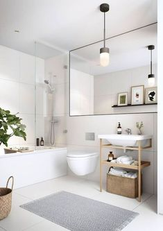 Half bathroom ideas and they're perfect for guests. They don't have to be as functional as the family bathrooms, so hope you enjoy these ideas. Update your bathroom decor quickly with these budget-friendly, charming half bathroom ideas Beautiful Bathroom Designs, Farmhouse Bathroom Decor, Small Apartment Bathroom, Home, Trendy Bathroom, Bathroom Renovations, White Bathroom Inspiration, Minimalist Bathroom, Apartment Bathroom