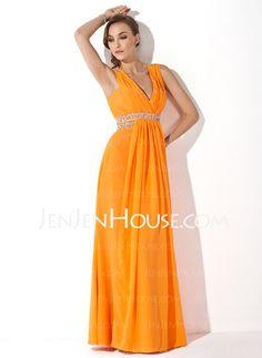 **Prom Dresses - $149.99 - A-Line/Princess V-neck Floor-Length Chiffon Prom Dresses With Ruffle Beading (018004849) http://jenjenhouse.com/A-Line-Princess-V-Neck-Floor-Length-Chiffon-Prom-Dresses-With-Ruffle-Beading-018004849-g4849