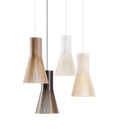Secto Design is a Finnish company specializing in wooden designer lamps. The lamp shades are handmade from Finnish birch by highly skilled craftsmen. The designs by interior architect Seppo Koho have a clear and simple Scandinavian feel. The wood provides Wood Pendant Light, Mini Pendant Lights, Pendant Lighting, Pendant Lamps, Shop Lighting, Modern Lighting, Lampe Decoration, Lamp Cord, Luminaire Design