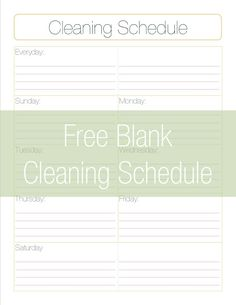 Weekly Cleaning Schedule Printable  Weekly Cleaning Schedule