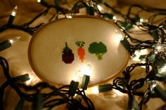 Simple Veggie Cross Stitch - Completed by CrossReferences on Etsy