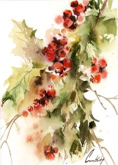 Holly Tree Branch Christmas Original Watercolor Painting, Loose Style Botanical Red Green Painting Art - paint and art Watercolor Pictures, Watercolor Trees, Watercolor Cards, Watercolor Paintings, Original Paintings, Painting Art, Watercolour, Painted Christmas Cards, Watercolor Christmas Cards