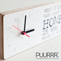 Time flies! handmade wooden clock with a lovely text