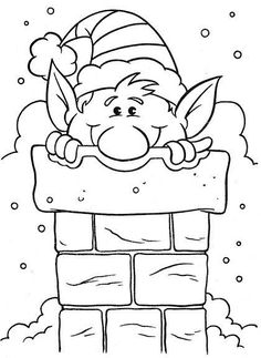 elf popping out of a chimmney Christmas Colors, Christmas Art, Christmas Coloring Sheets, Illustration Noel, Theme Noel, Christmas Drawing, Coloring Book Pages, Digi Stamps, Christmas Printables