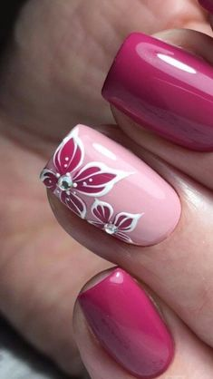 There are three kinds of fake nails which all come from the family of plastics. Acrylic nails are a liquid and powder mix. They are mixed in front of you and then they are brushed onto your nails and shaped. These nails are air dried. Fancy Nails, Pink Nails, Pretty Nails, Cute Nail Colors, Nailart, Finger Nail Art, Ring Finger, Floral Nail Art, Nail Art Rose