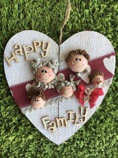 Cuore fuori porta in legno con famiglia #duepuntihandmade