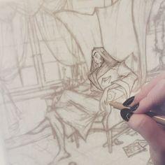 Inking my #necromancer 💀  sketchbook #sketch #art #ink #artistsoninstagram #instaart #artist #gothicart #creepyart #macabre #darkart #necromancer #timelapse #lighttable #micron