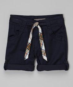 Navy Belted Shorts - Girls #zulily #zulilyfinds