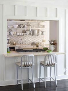 Love all the details, the tile, the wall molding, the open shelving and lighting! So pretty! Pass through kitchen. Home decor and interior decorating ideas. Pass Through Kitchen, Kitchen Pass, Kitchen Dinning, Kitchen Redo, Living Room Kitchen, New Kitchen, Kitchen Remodel, Dining Room, Kitchen Interior