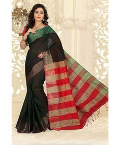 Black Silk Cotton Saree With Blouse 66538