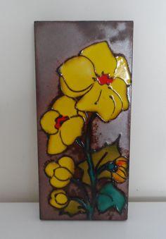 Fat Lava Era West German Ceramic Wall Tile Plaque - Yellow Flowers by WoodstockStudio on Etsy