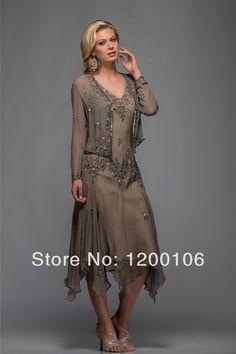 Elegant A Line Appliqued V Neck Long Sleeves Tea Length Mother of The Bride Dresses US $144.00