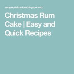 Christmas Rum Cake | Easy and Quick Recipes
