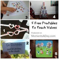 5 Printables To Teach Values