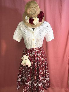 Wonderful Mary Mary, Miss Muffet or Mary had a little lamb. Straw bonnet with flowers and little lamb included. BEAUTIFUL with eyelet cotton top, burgundy print cotton full skirt. Lamb Costume, Costume Hats, Costume Dress, Diy Spider Costume, Mardi Gras Halloween Costume, Funny Costumes, Adult Costumes, Ball Dresses, Ball Gowns