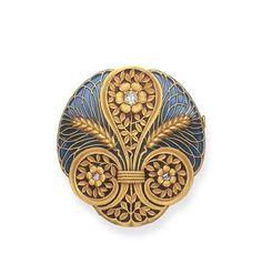 Art Nouveau enamel and diamond brooch   ~1900
