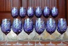 Peacock Feather Wine Glasses-12 Piece Customized Bridal Collection by Mary Elizabeth Arts