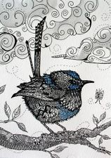 ORIGINAL Zentangle FAIRY WREN birds  5x7 ink acrylic watercolor paper OOAK
