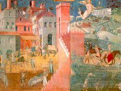 """Ambroggio Lorenzetti: """"Consecuencias del buen gobierno de la ciudad"""". Siglo XIV."""