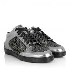 Jimmy Choo Sneakers – Miami Glitter Mesh Metallic Mirror Leather Sneakers Anthracite – in silber – Sneakers für Damen